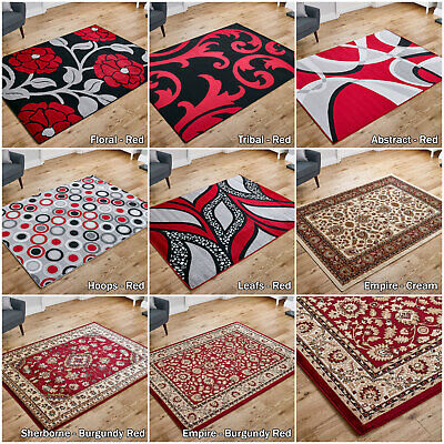 Low Price Sale New Large Traditional Burgundy Red Grey Modern Quality Rug Runner