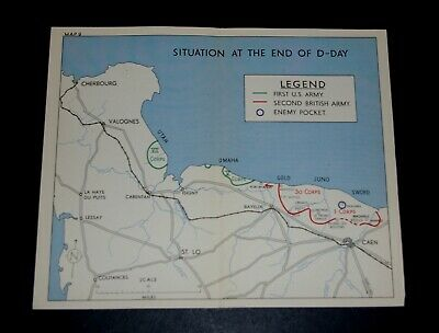 WW2 Map SITUATION AT THE END OF D-DAY, 6 JUNE 1944, UTAH OMAHA GOLD JUNO SWORD