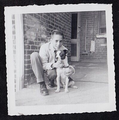 Vintage Antique Photograph Young Boy Holding Adorable Puppy Dog