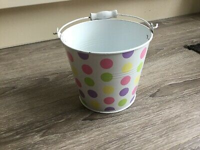 Spotted Tin Bucket With Wooden Handle - Peg Bucket - Childrens Bucket