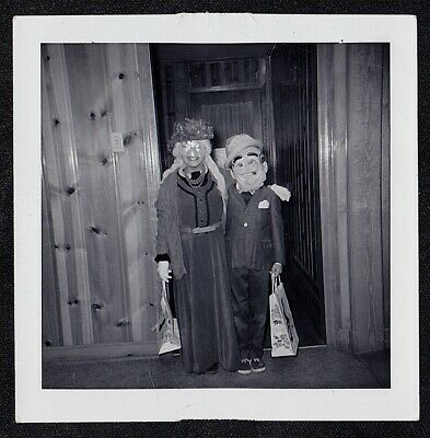 Vintage Antique Photograph Two Little Children in Creepy Halloween Costumes
