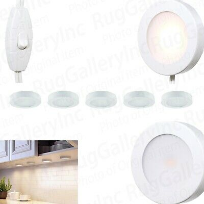 Commercial Electric 5-Light LED AC Puck Lighting Kit Under Cabinet Dimmable Wh