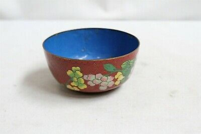 Vintage Chinese Cloisonne Flowers Red Gold Geometric Tea Bowl