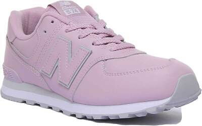 New Balance 574 Youth Synthetic Lace Up Low Cut Trainers In Lila UK Sizes 10 - 3