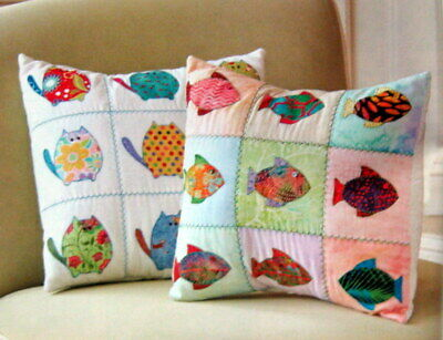 Cat? Fish? Pillow Pattern - Appliqued Fish & Cats - Charm Square Friendly!
