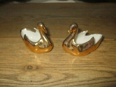 Vintage French Pair Limoges Porcelain 22 Carat Gold Gilt Swan Salts Stamped