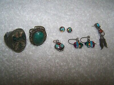Vintage 6PC Zuni Southwestern Jewelry Lot-Sterling Charm 2 Er Sets 1 Sgl 2 Rings