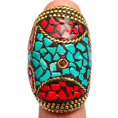 Red Coral Tibetan Turquoise  Ring 925 Sterling Silver Plated Jewelry Sz6.25