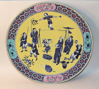 Late 18th Early 19th Century Chinese Porcelain Charger with Performers 16inches