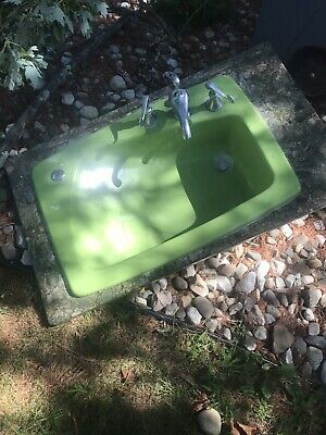 Vintage 1960's LIME GREEN Retro -Mid Century-Atomic Bathroom Hair Washing Sink