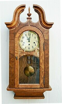 """Sheffield""  An Elegant Stoneybrook Solid Oak Wall Clock W/ Westminster Chimes"