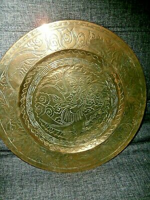 "VINTAGE CHINESE BRASS/BRONZE ENGRAVED PLATE/CHARGER ~ DRAGON ~ 12"" diameter"