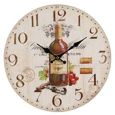 Mediterranean Wall Clock with Red Wine Motif,Country House Kitchen Clock,Pubs