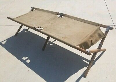 Vintage 1944 Heavy Duty Camping Canvas & Wood Cot, Foldable Army Green Color