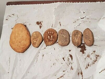 Rare Antique Ancient Egyptian 6 Stones Hiroglyphic History Person 2620-2540BC