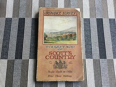 1921 Old Vintage OS Ordnance Survey One-Inch Tourist Map Scott's Country 3/-
