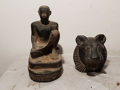 Rare Antique Ancient Egyptian 2 Statue Priest &God Sekhmet War battle1640-1570BC