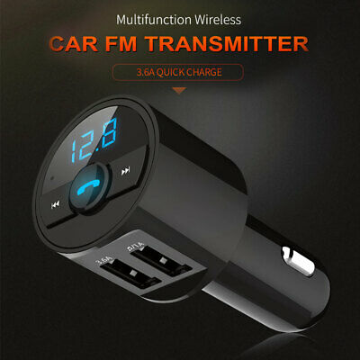 Bluetooth Handsfree FM Transmitter 3.6A Fast Charge USB Port MP3 Radio Player