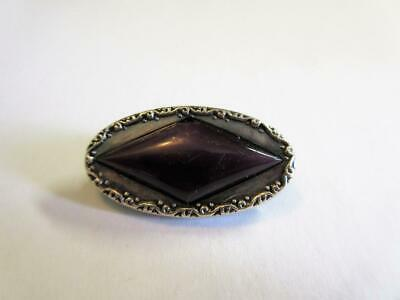 Antique Edwardian Solid Silver & Amethyst Art Nouveau Bar Brooch, Pin!