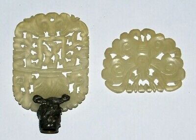 TWO Rare Vintage Carved White Jade Lamp Finials * Chinese 1940's
