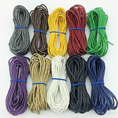 2mm Waxed Cotton Cord Beading String Cording Jewelry Macrame 45 Meters 10 Colors