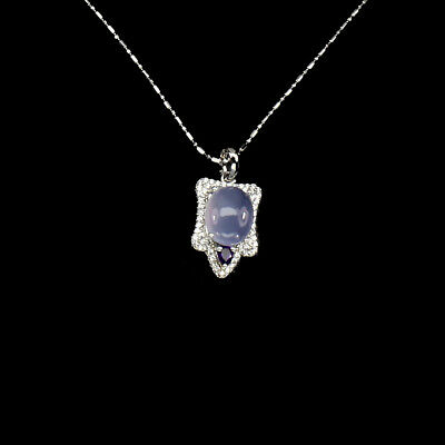 Oval Blue Dyed Chalcedony 11x9mm Amethyst Cz 925 Sterling Silver Necklace 16inch
