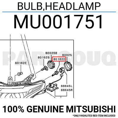 MU001751 Genuine Mitsubishi BULB,HEADLAMP