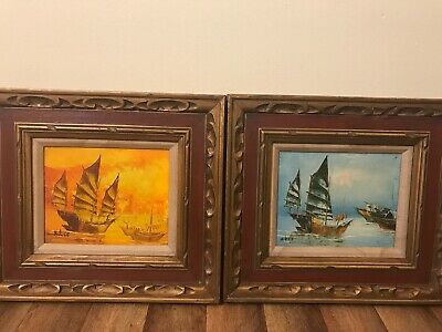 """2 Original A. Lee Oil On Canvas Paintings In Matching Frames 8"""" By 10"""""""