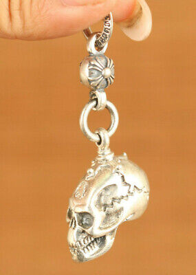 13g S925 soild silver skull head statue pendant necklace netsuke decoration gift