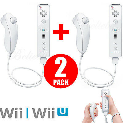 White Remote Wiimote Nunchuck Controller Set Combo for Classic Wii Wii U Games