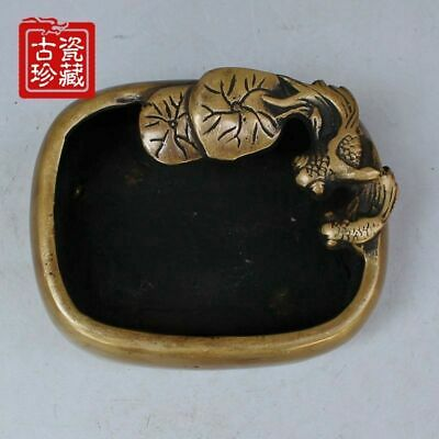 China Old Hand-made bronze Pisces fish Lotus Ashtray pot