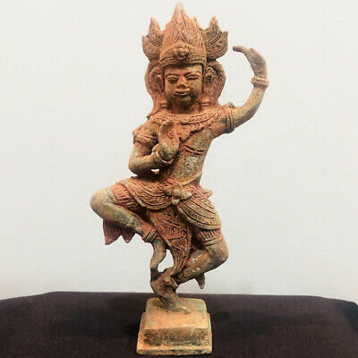 Old Cambodia Khmer Antique Buddha Statue Bronze Stand Dancing Buddhism Figurine