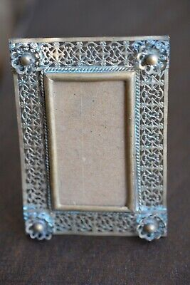 Antique Victorian Brass Ornate Floral Small Photo Frame Easel Back