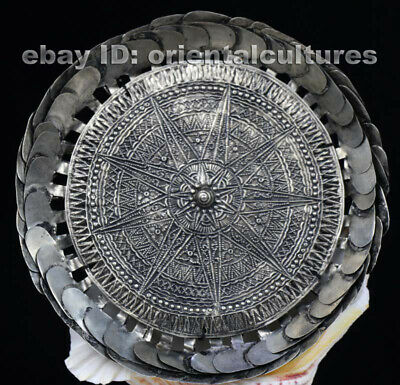 Vintage tribal exotic chinese handmade miao silver headgear