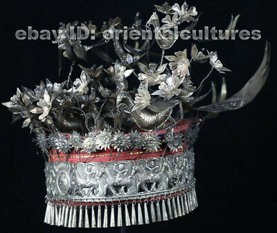 Vintage tribal exotic chinese handmade embroidery miao silver hat