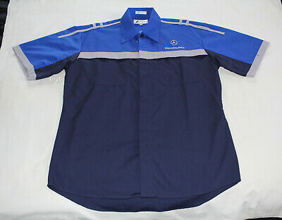 Mercedes Benz Autobody Mens Mechanic Embroidered Short Sleeve Shirt Size M New