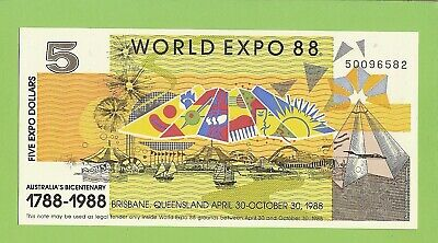 #D498. World  Expo 1988  $5 Banknote