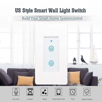 Smart Switch 2 Gang WiFi US Panel Touch Wall Retome Voice Control Light