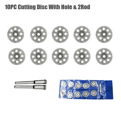 10Pc Diamond Coated Cutting Grinding Wheel Discs for Power Rotary Tool +2pcs Rod
