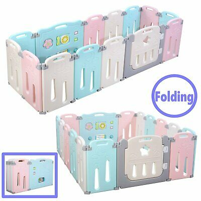 14/16 Panels Baby Playpen Kids Safety Fence Play Center Play Yard Kids, Macaron