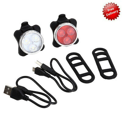 USB Rechargeable Bike Light Set Bright LED Bicycle Lights Set Front and Rear Hot