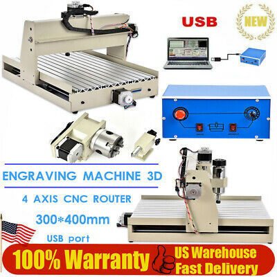 USB 4 Axis 400W CNC 3040 Router Engraver Machine Drilling Wood  DIY 3D Cutter