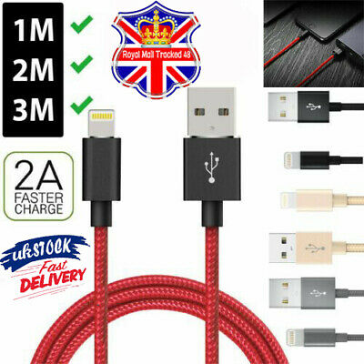 1-3M USB Charger Cable For i phone X 5 6 7 8 Heavy Duty Metal Braided Lightning