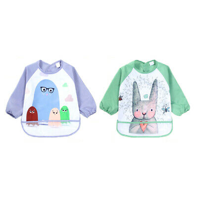 Portable Baby Kids Toddler Waterproof Long Sleeve Art Smock Feeding Bib Apron