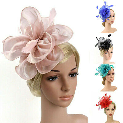 Feather Alice Flower Ascot Race Wedding Ladies Royal Fascinator Band Headband