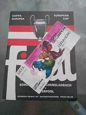 LIVERPOOL v BORUSSIA MOENCHENGLADBACH 1977 EUROPEAN CUP FINAL AND TICKET