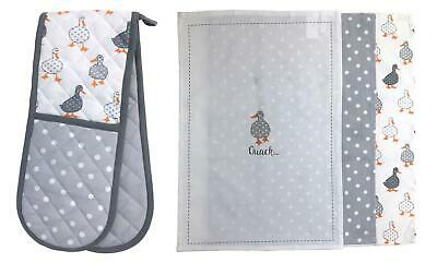 Duck Spot White Grey Double Oven Glove & Pack Of 3 Tea Towels