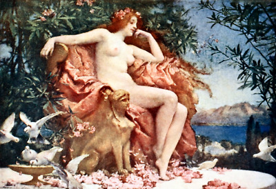 """oil painting on canvas """"the goddess Venus seated on a red-lined throne """""""