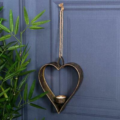 Antique Gold Heart Sconce Wall Hanging Vintage Chic Candle Holder Metal Home