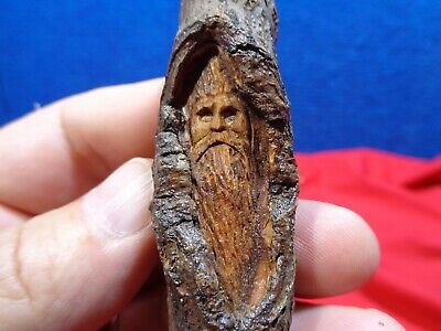 Vintage Ooak Hand Carved Old Man In The Woods